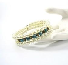 Vintage Pearl Bracelet, AB Crystal Beads, Memory Wire, End Dangles, Crea... - $19.50