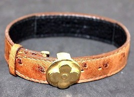 100%Auth Louis Vuitton Floral Metal Ostrich Brown Leather Bracelet Bangl... - $216.81
