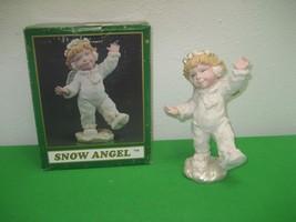 Vintage Happy Dancing Snow Angel Christmas Resin Figurine Original Box - $12.16