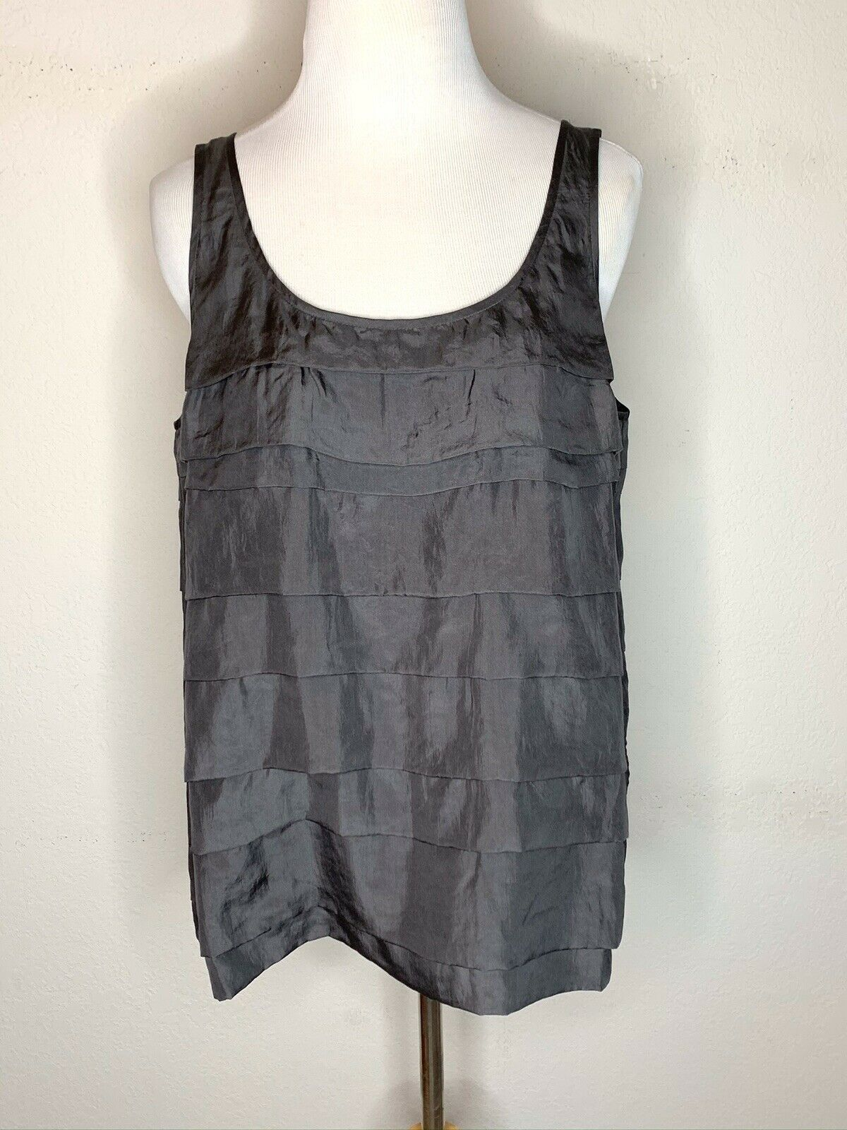 Primary image for Eileen Fisher Silk Habutai Tank Top Tiered Layered Scoop Neck Bark Gray Sz M NWT