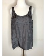 Eileen Fisher Silk Habutai Tank Top Tiered Layered Scoop Neck Bark Gray ... - $69.95