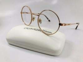 New Calvin Klein CK19114 780 Round Rose Gold Eyeglasses 51mm with Case - $89.05