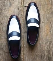 Handmade Men's Black & White Slip Ons Loafer Leather Shoes image 5