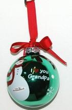 Ganz EX27946 I Love You Grandpa Snowman Christmas Ball Ornament Color Green image 2