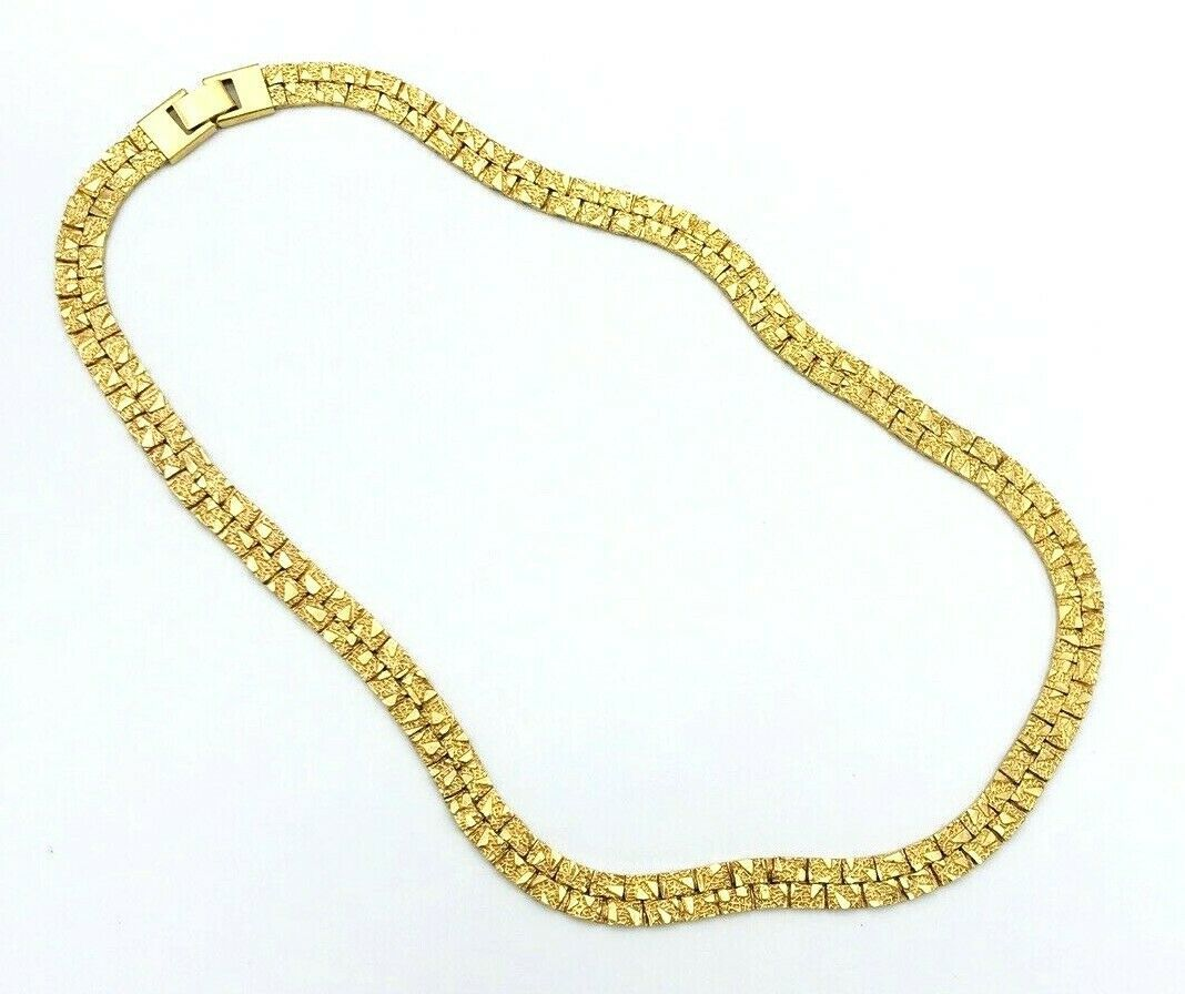 Primary image for Vintage 60's KOREA Gold Tone Textured Link Chain Necklace