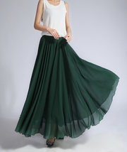 Women MAXI Chiffon Skirt DARK GREEN Silky Chiffon Maxi Skirt Beach Wedding Skirt image 5