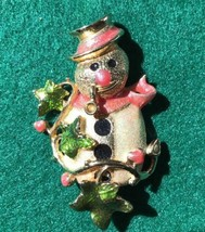Kirks Folly Snowman Goldtone & Enamel Brooch Pin Christmas Winter - $32.71