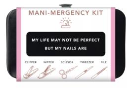 Trim Black Pink Nail Mani Emergency Grooming Kit Clippers Scissor Tweezer File image 2