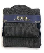 Polo Ralph Lauren Gray Knit Cuff Beanie & Scarf Wool Blend Men's One Siz... - $128.69