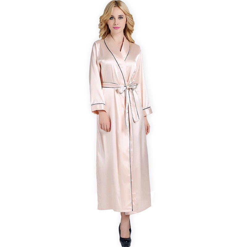 Primary image for Satin Silk Robe Ankle-length Nightwear Long Bathrobes Sleeprobes