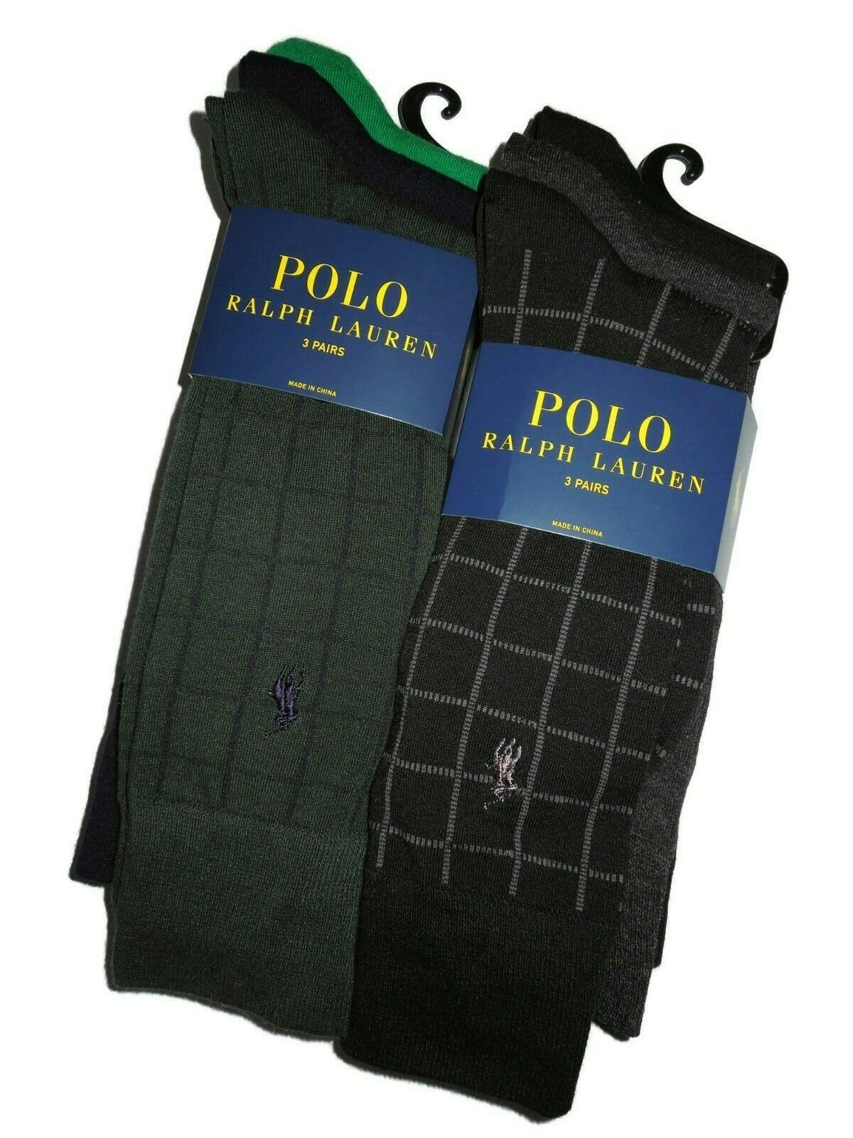 Primary image for .Polo Ralph Lauren mens 6 pair of dress Socks grey black Green Navy Plaid Solid