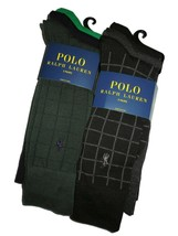 .Polo Ralph Lauren mens 6 pair of dress Socks grey black Green Navy Plai... - $42.03