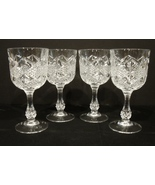 Set of 4 Cristal de Flandre 24% Lead Cut Crystal French  Red Wine Glasses  - $10.00
