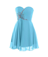 Light Blue Beaded Short Cocktail Dresses 2019 Sexy Cheap Bridesmaid Gown... - $52.00