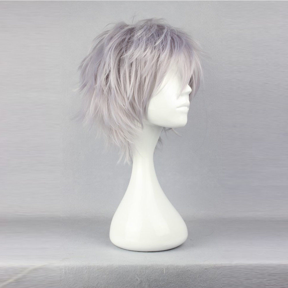 Short Gray Cosplay Costume Killua Hair Wig Anime Hunter x Hunter Synthetic 35cm