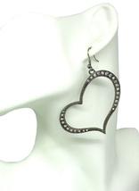 Women new silver diamante curved heart hook pierced earrings - $24.64 CAD