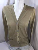 Women Blouse Regular Fit Golden Long Sleeve Button Up V-neck Thin Fabric Size M - $16.83