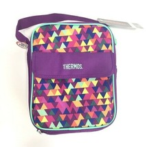 New Thermos Purple Inulated Lunch Bag Triangle Print - $16.26