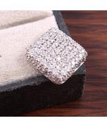 Pure Silver Square Pendant, Silver & CZ Jewelry, Crystal Pendant, Stylis... - $30.00