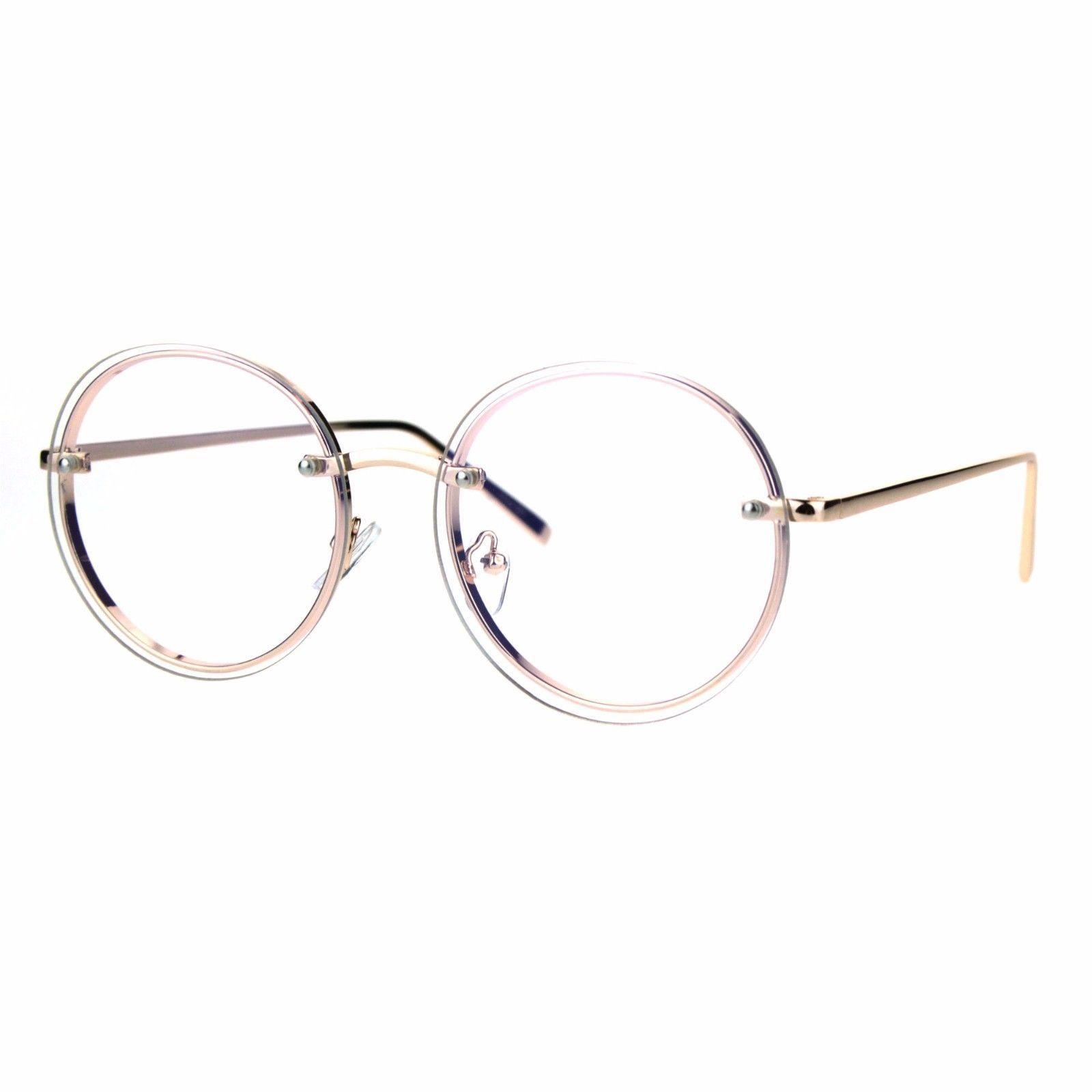 Round Clear Lens Glasses Metal Rims Behind Lens Fashion Eyeglasses UV 400