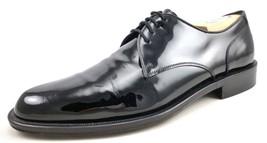 Salvatore Ferragamo Men's Shoes Patent Leather Lace Up Oxfords Black Size 8.5 - $188.09