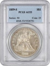 1859-S $1 PCGS AU53 - Low Mintage Date - Liberty Seated Dollar - $4,316.50