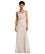 Adrianna Papell Sleeveless Beaded Blouson Gown with Illusion Details - $148.49