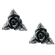 Alchemy Gothic Ring O' Roses Black Rose Ear Studs Earrings English Pewter E442 - $22.95