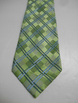Geoffrey Beene Green Checked Silk Necktie with Blue Plaid - $6.23