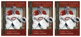 (3) 2008-09 Upper Deck Biography of a Season #BS20 Carey Price Lot Canad... - $3.99
