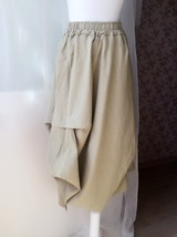 Khaki Linen Ankle Length Skirt Loose Elastic Waist Boho LINEN COTTON SKIRTS NWT image 2