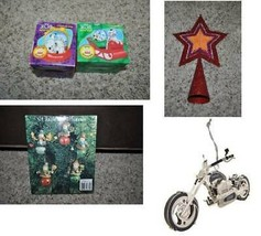 Christmas Ornament Brass Motorcycle 101 Dalmations Snow Globes Snowman Tree Star - $9.00