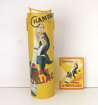 wine bottle carrier box gift tote art deco advertising with card champag... - $20.30