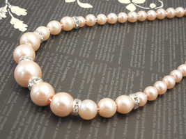 Fancy, One Strand Embossing Look Blush Peach Pink Glass Pearl Necklace - $35.00