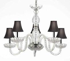 Murano Venetian Style Crystal Chandelier Lighting with Black Shades W/Chrome Sle - $119.56