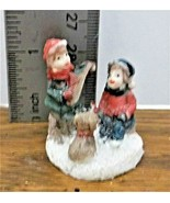 Christmas Village Accessory Boy Playing a Lute Girl & Dog Listening Resi... - $6.92