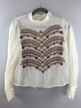 Anthropologie Meadow Rue Top Size 4 Ivory Embroidered Shirt Cutout Back ... - $20.58