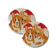 Christmas Corgis in Santa Hats Natural Sandstone Coaster Set Home & Car ... - $12.50+