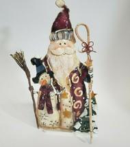 Holiday Folk Art Santa Claus Snowman Tealight Candle Holder - $7.00