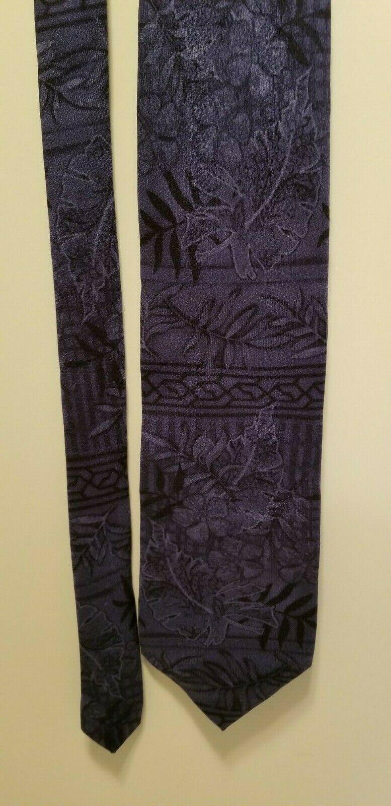 Tropicals by Tango 100% Silk Blue Hibiscus Palm Leaves Fronds Batik Hawaiian Tie