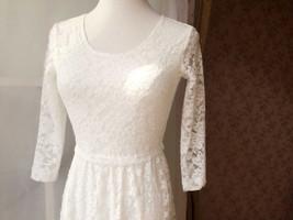 Ivory White Lace Boho Dress long Sleeve Lace Dress Easy Fitted Wedding Dress NWT image 6