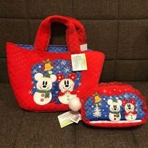 Tokyo Disney Resort Snow Snowman Mickey & Minnie Christmas Tote Bag & Po... - $87.12