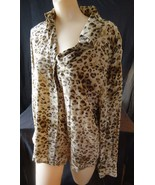 Vintage silk animal print blouse Ellen Tracy Linda Allard leopard shirt ... - $8.00