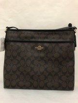 NEW COACH F58297 SIGNATURE FILE BAG CROSSBODY SLING PURSE BROWN/BLACK $2... - $107.53