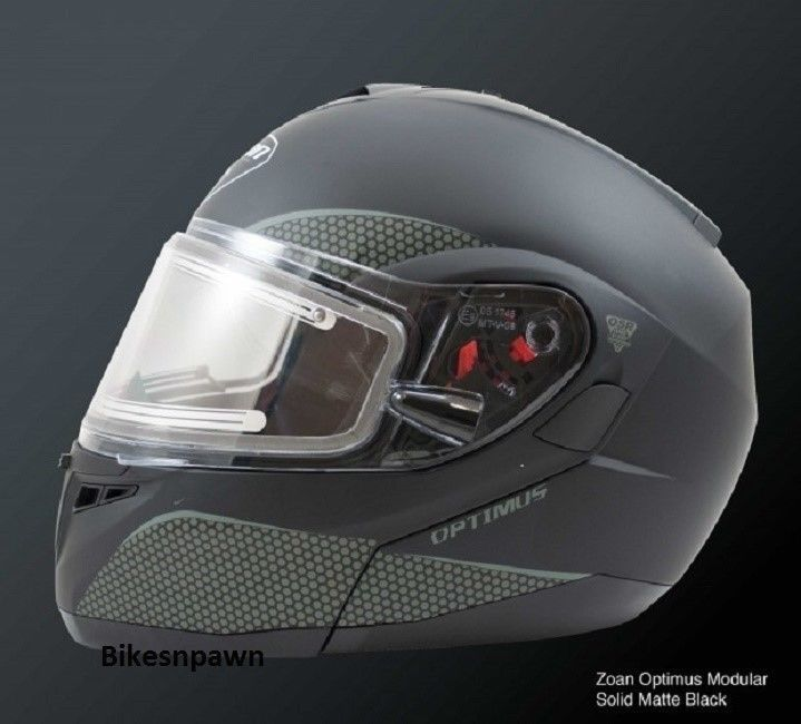 New XS Zoan Optimus Matte Black Modular Snowmobile Snow Helmet w/Electric Shield
