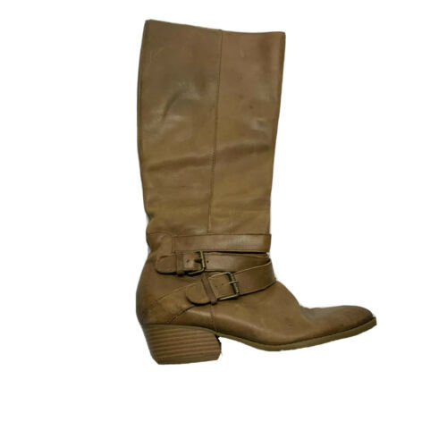 Kenneth Cole Womens Leather Block High Heel Knee Length Boots Brown Size 7.5 - $11.33