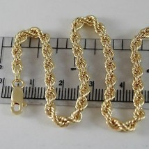 18K YELLOW GOLD BRACELET BIG 4 MM BRAID ROPE LINK, 7.50 INCH LONG, MADE ... - $299.00