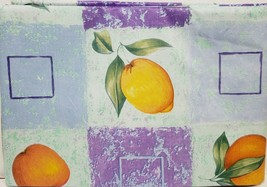 "FLANNEL BACK TABLECLOTH (52"" x 70"") Oblong, FRUITS, APPLES & PEARS, ELEG... - $13.85"
