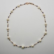Collar de Plata 925 con Perlas Blancas Fw y Iolite Hecho en Italia - $150.54