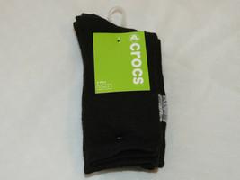 Boy's youth kids Crocs 3 pack Crew Socks - fits shoe 9-3 black CC56844-3... - $13.36